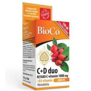 BioCo C+D Duo Retard C-vitamin 1000mg + D-vitamin 2000NE tabletta – 100db