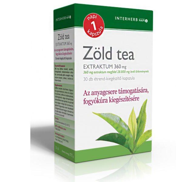 Interherb zöld tea kapszula - 30db - BioBolt.eu webáruház