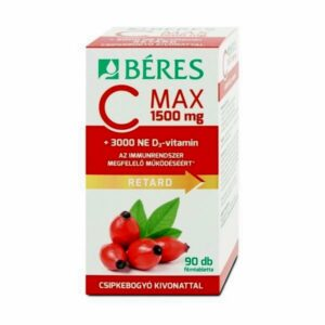 Béres C MAX 1500mg RETARD, csipkebogyó kivonattal + 3000NE D3-vitamin filmtabletta - 90db