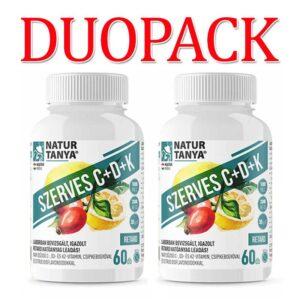 Natur Tanya Szerves C+D3+K2 C-vitamin 1000mg + D-vitamin 2000NE DUOPACK – 2x60db