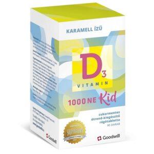 Goodwill D3-vitamin Kid 1000NE rágótabletta - 90db